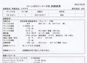 ポリセラミック不燃試験コーンカロリーメーター Ⅲ試験結果